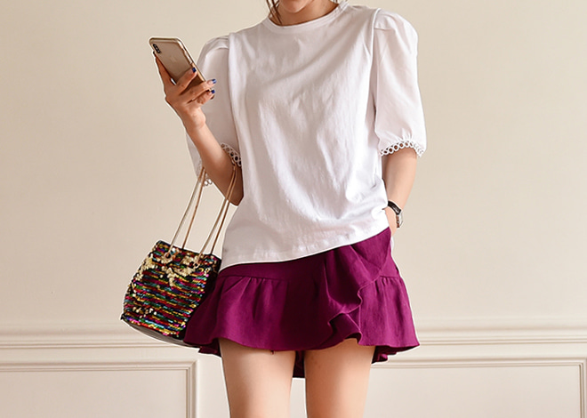 Ruffle pants skirt [purple]