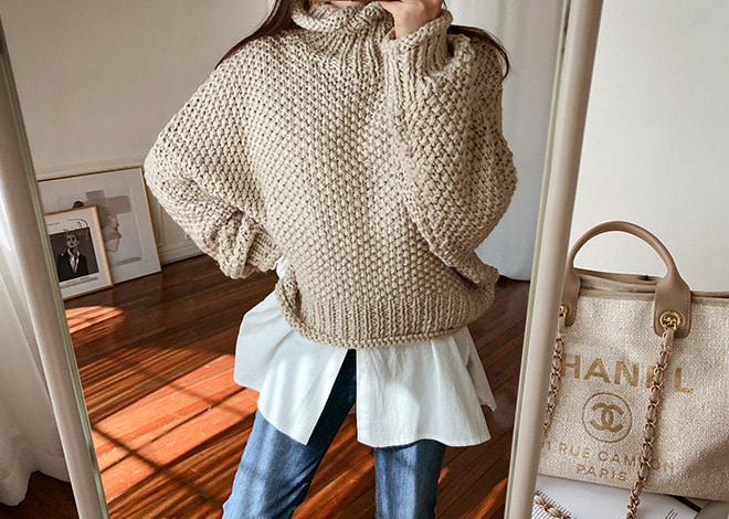 Yann polo-neck  knit* [beige]