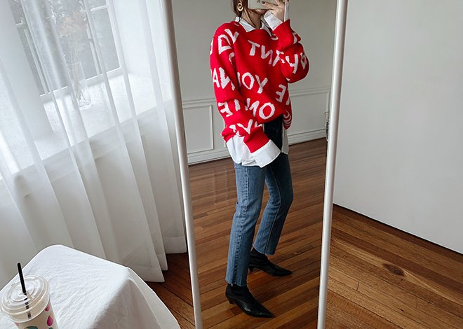 Bunny round knit [red]