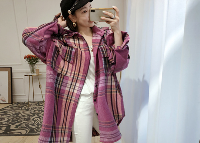 Mel check long shirt