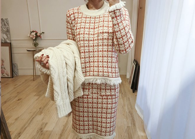 Knit tweed two-piece