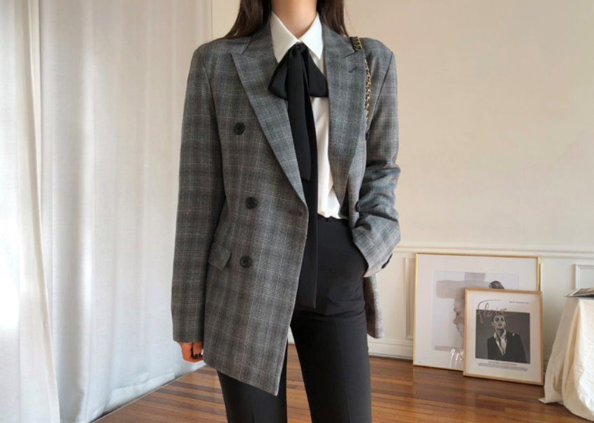 Melange check jacket