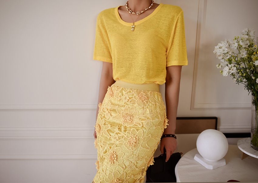 linen T-shirt [yellow]