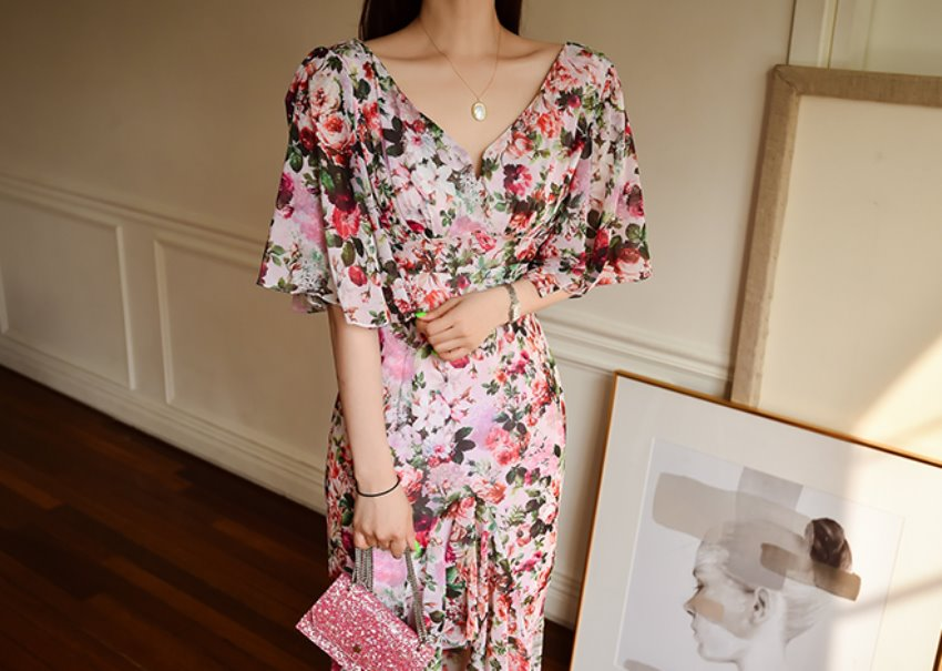 Clarence Floral Dress *[pink]