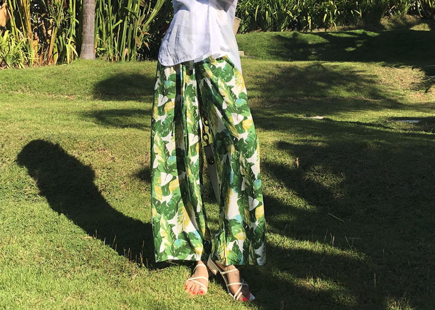 Greenery wide pants