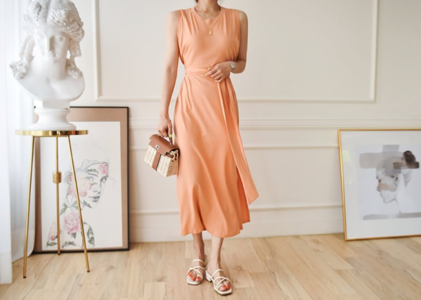 Lumen cotton dress*[peach]