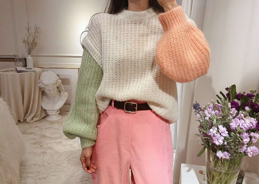 Pastel color knit