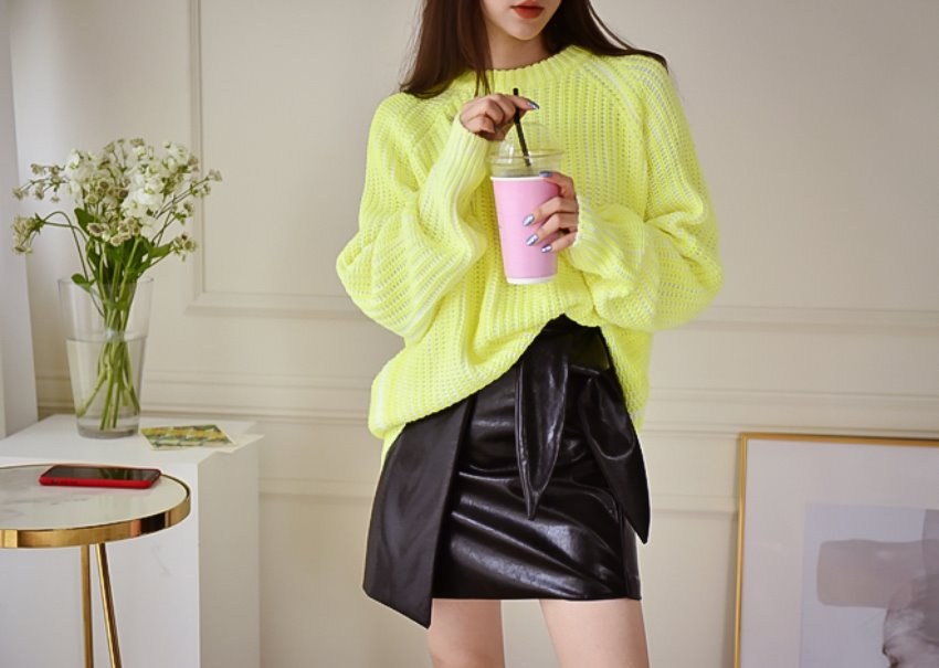 Neon Paint Wash Knit *[yellow]