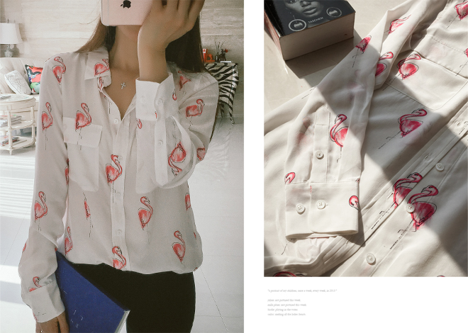 Flamingo pocket blouse