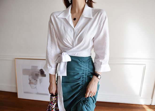 Deer wrap blouse