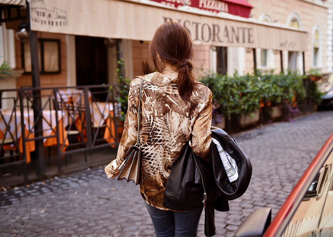 leaf satin blouse