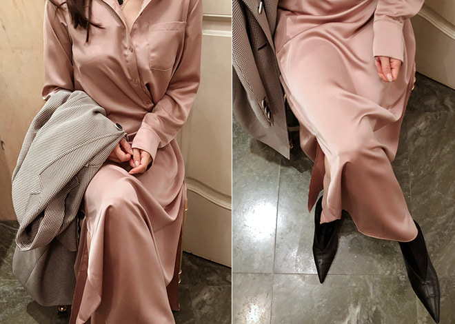 Leje satin dress [beige]