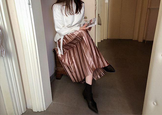 Metal pleats skirt