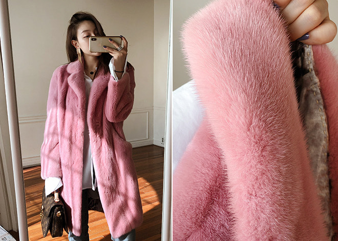 Pink lady mink coat