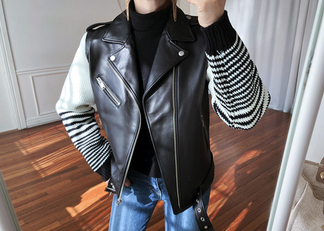 Mix Leather Jacket