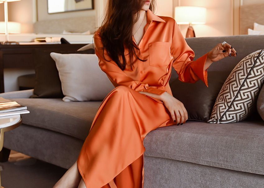 Leje satin dress* [orange]
