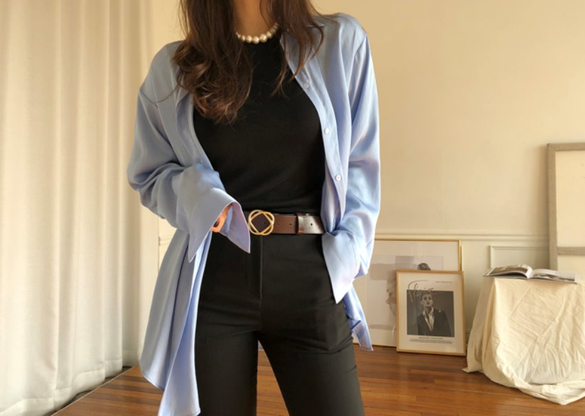Silky loose shirt