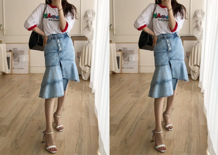 Unbal denim skirt