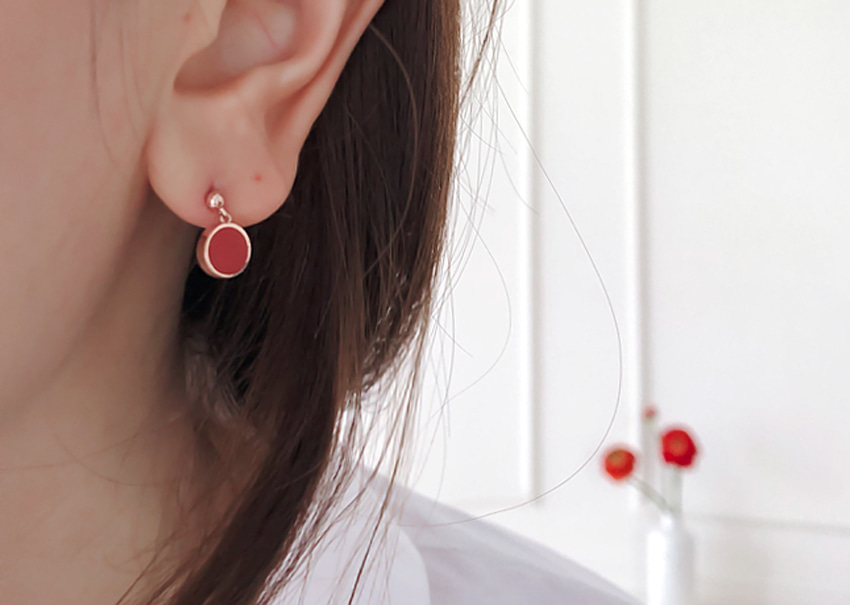 Leslie red Earrings [silver92.5%]