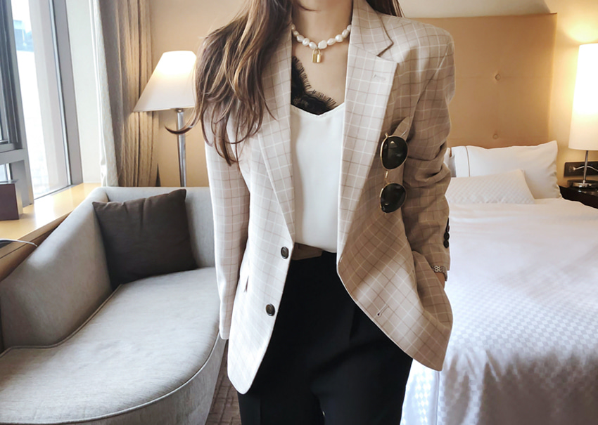 Heizle check jacket *[beige]