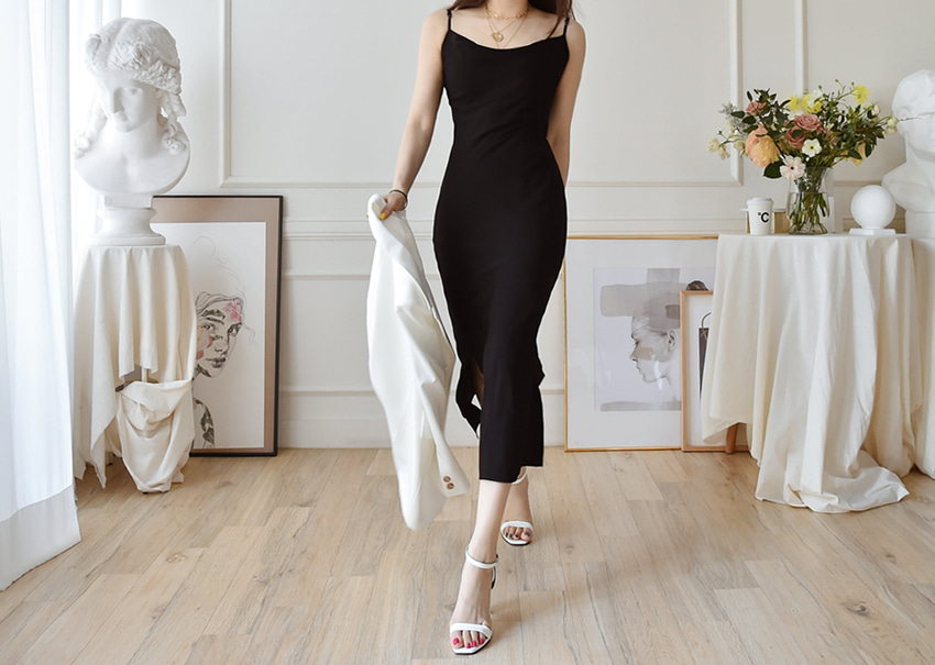 Drape silp dress *[black]