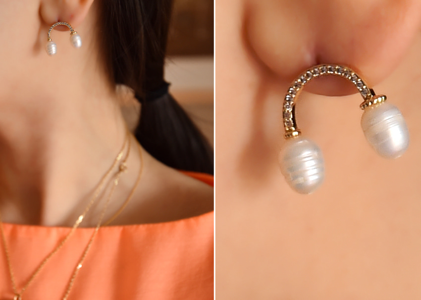 Pearl curve earrings