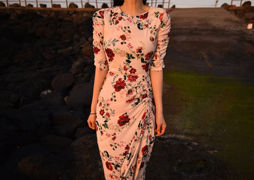 Evening rose dress