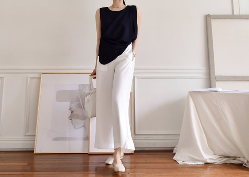 Slit wide pants