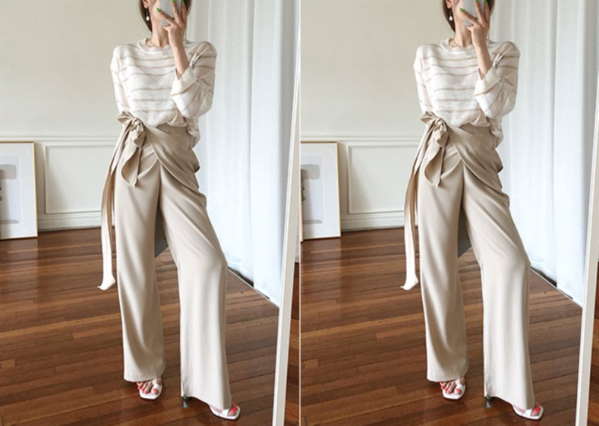 Dobby wrap pants *[beige]