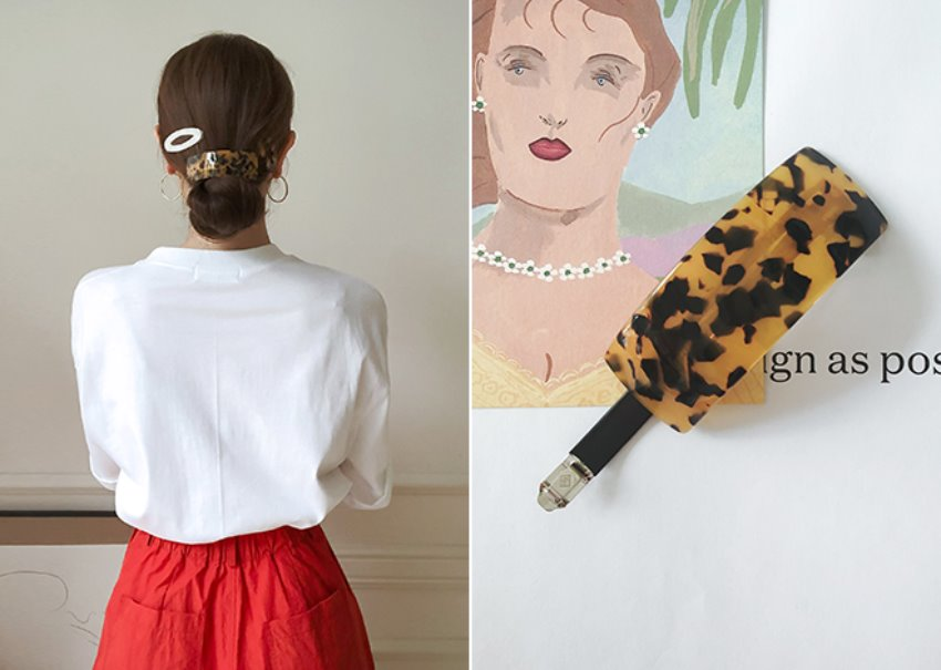 Leopard square Hair pin