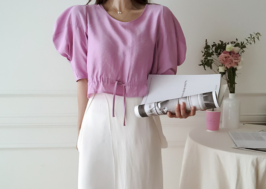 Miumi Crop Blouse *[pink]