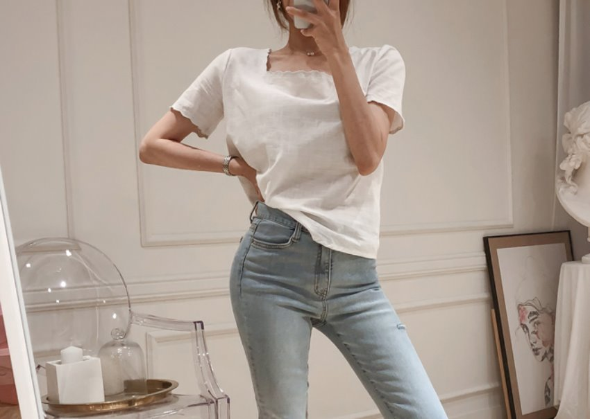 Square linen blouse