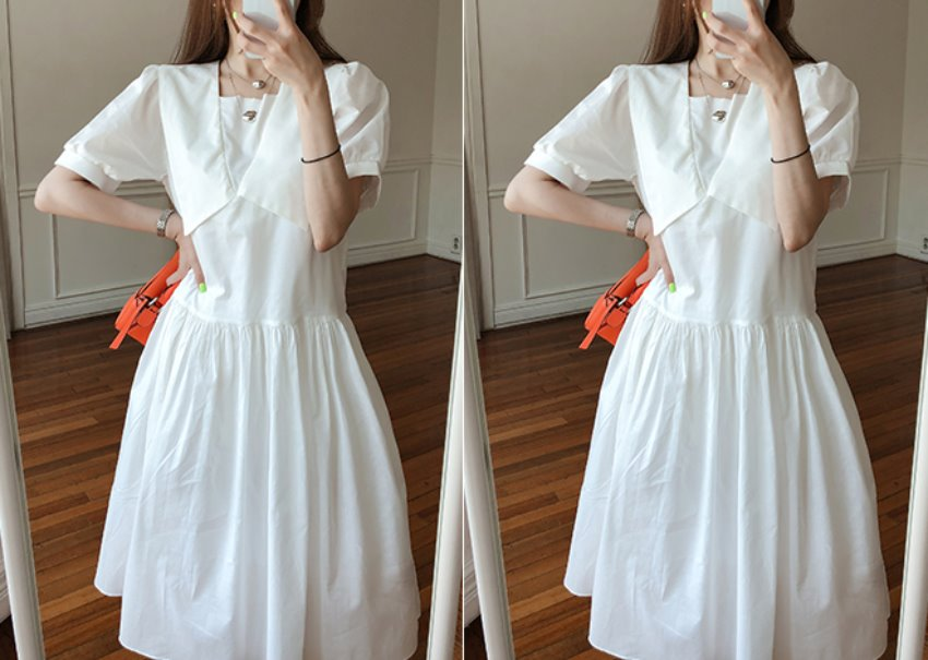 Dipping collar dress