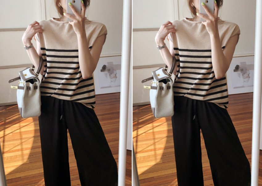 Boatneck stripe knit