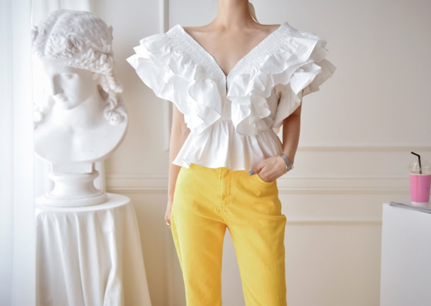 Open ruffle blouse