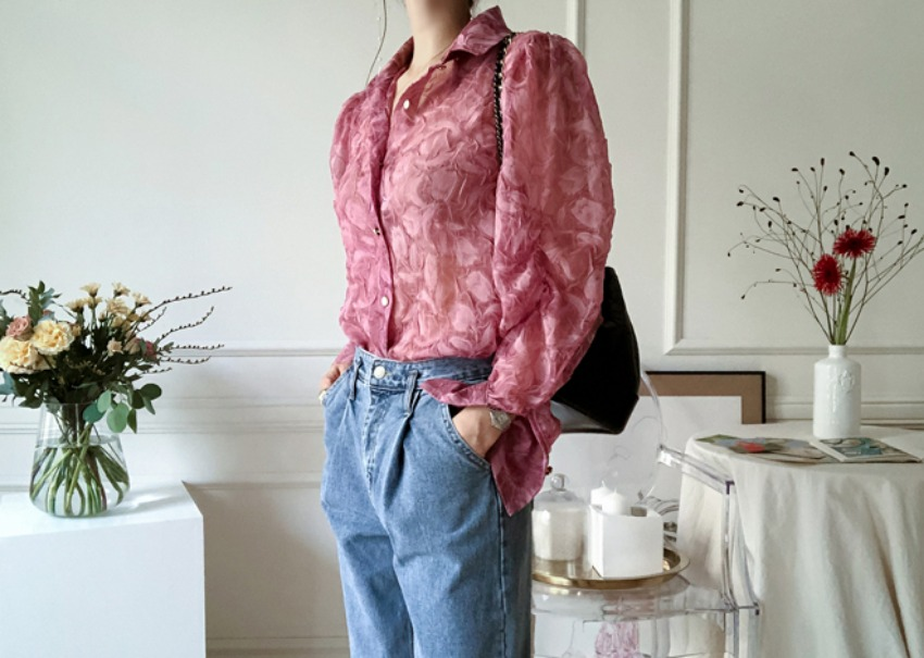 Organza shirring blouse *[pink]