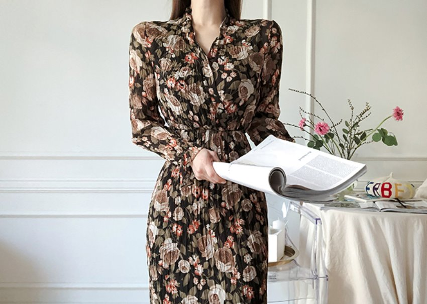 Flower Wrinkle Dress *[black]