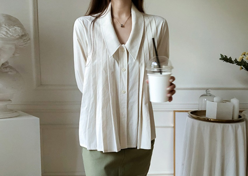 Cotton pleats blouse