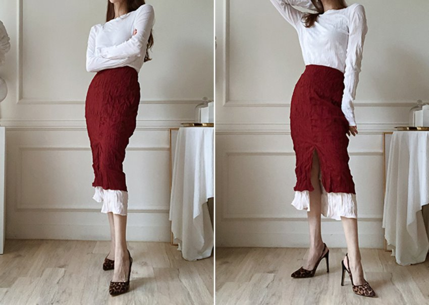 Layered Wrinkle Skirt