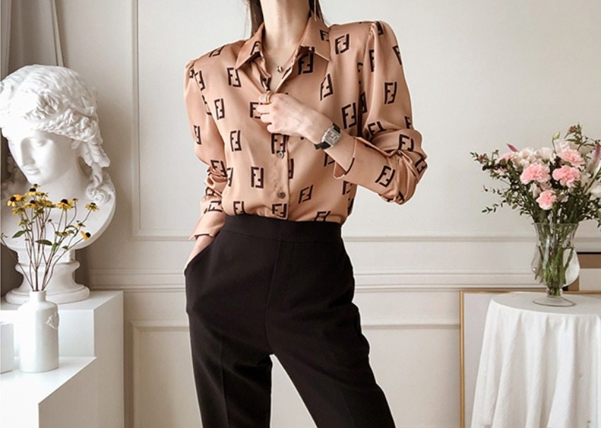 Bronze puff blouse