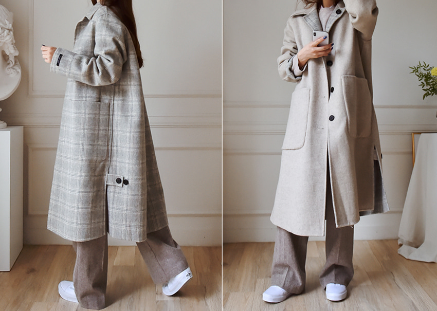 Reversible check coat *[hand made]