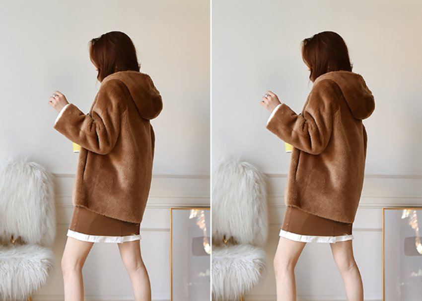 Mari Hood Fur Jacket