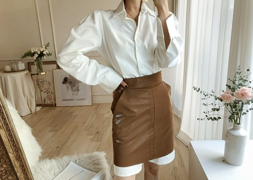 Alicia leather skirt