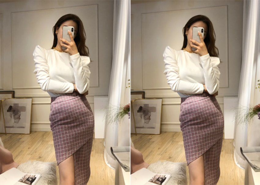 Tweed slit skirt