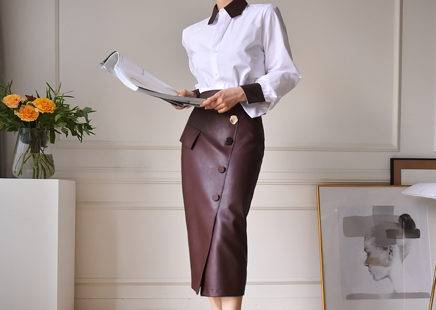 Bella leather skirt