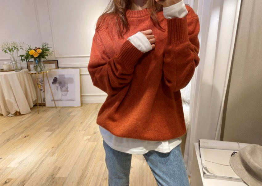 Brick cashmere knit