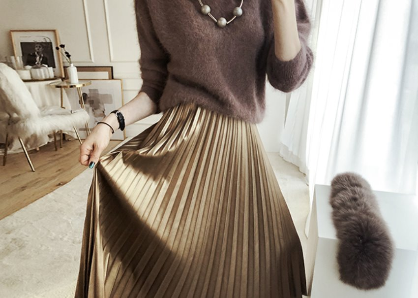 Bronze pleats skirt