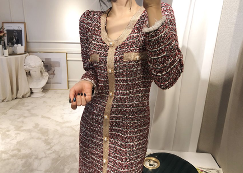 Cognac tweed dress