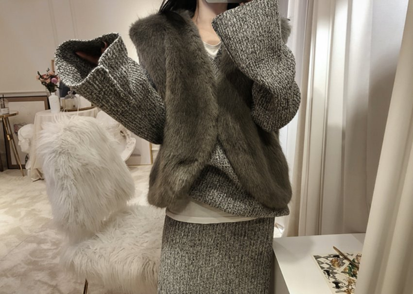 Munch Fur Vest *[charcoal]