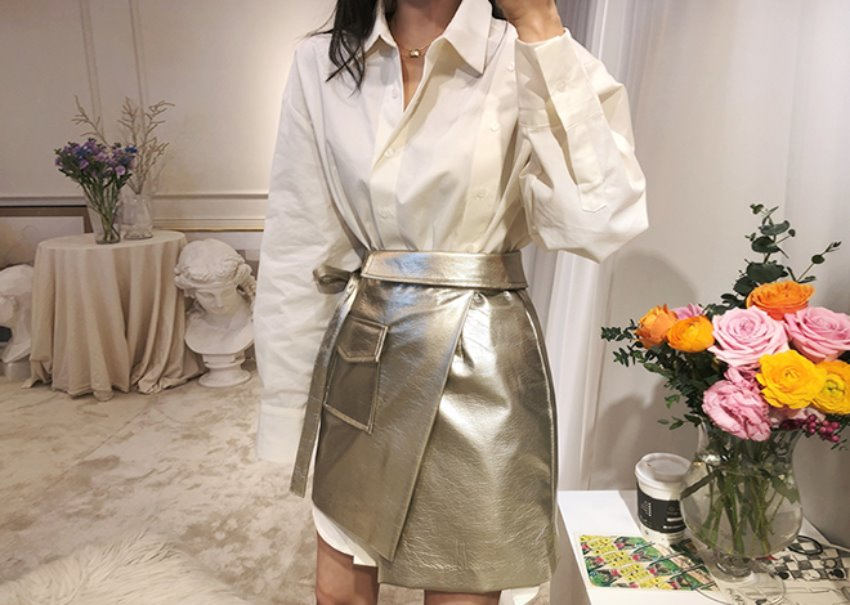 Leather gold wrap skirt